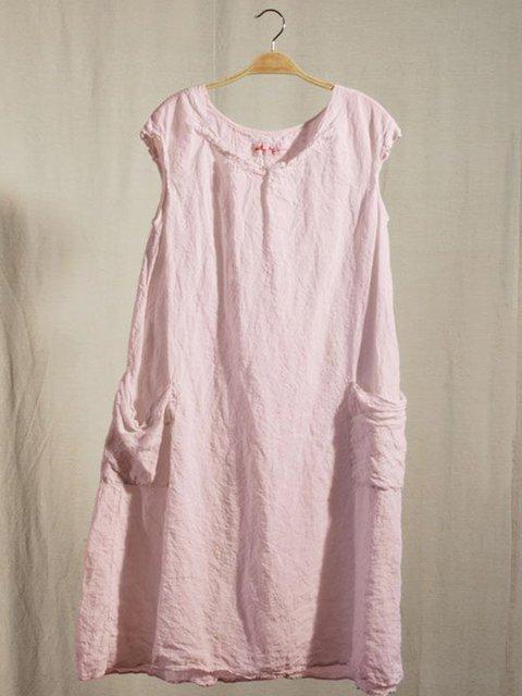 Women Sleeveless Shift Linen Pockets Dresses