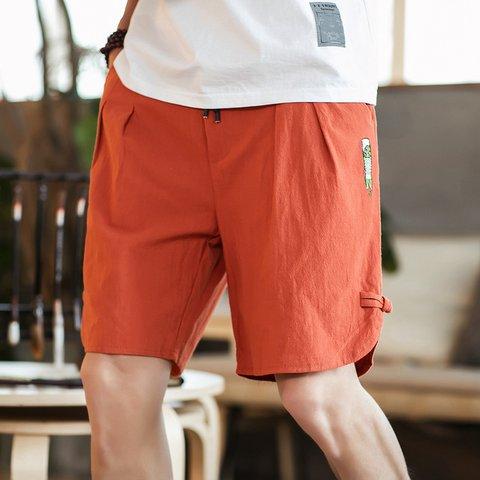 Fashion Button Shorts Large Size Men's Casual Elastic Waist Knee-Length Shorts