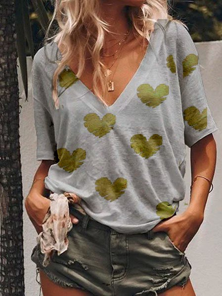 Women Summer Casula Loose V neck Polka Dots T Shirt Tops