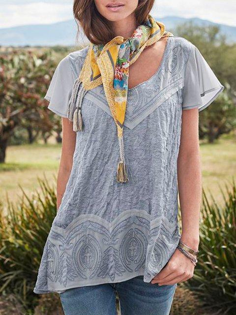 Light Gray Short Sleeve Cotton-Blend Square Neck Shirts & Tops