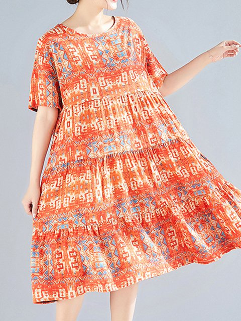 Tribal Daily Tribal Women Summer Midi Loose Dresses