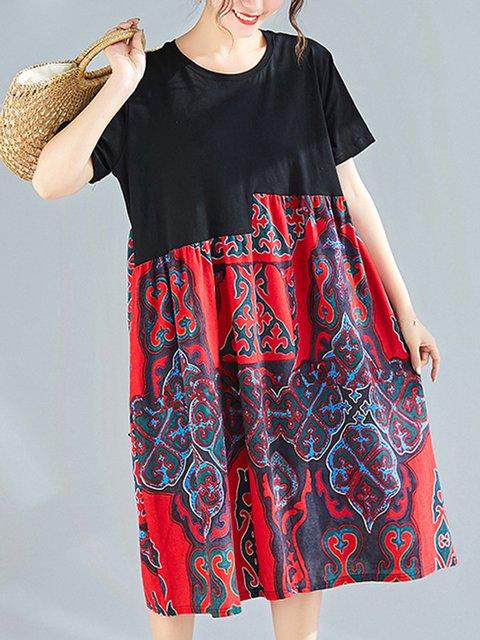 Tribal Print Daily Cotton-Blend Women Midi Loose Dresses