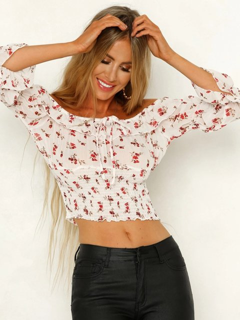Floral-Print Shirred White Half Sleeve Off Shoulder Blouses
