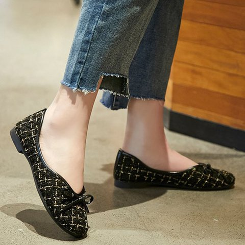 Bowknot Low Heel Flats Slip On Round Toe Shoes