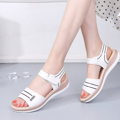 Women's Comfy Sole Open Toe Magic Tape Spring/fall Sandals