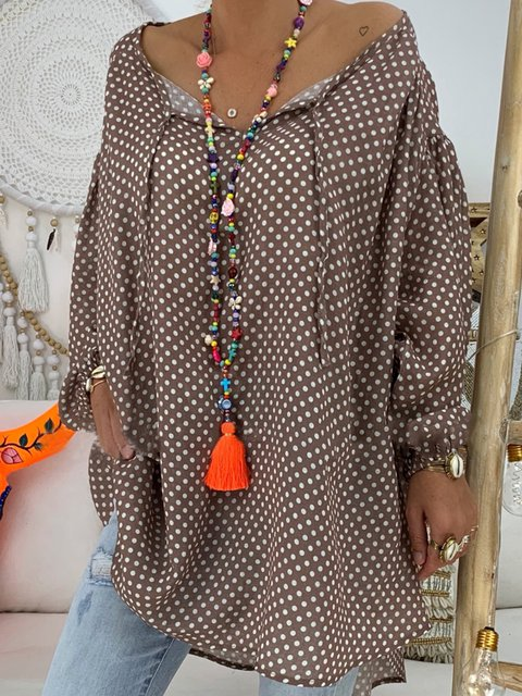 Casual Polka Dots V-neck Long Sleeve Blouse