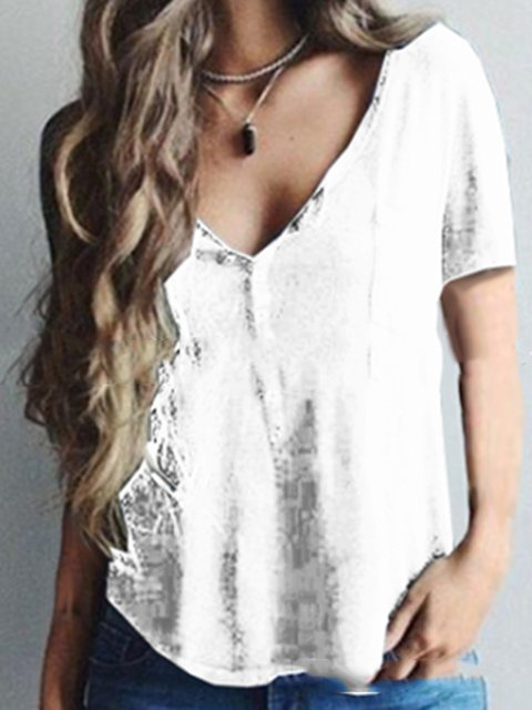 Casual V Neck Buttoned Solid T-shirt