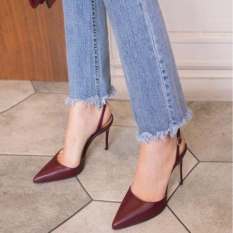 Pointed Toe Mule Stiletto Heels Sandals Women