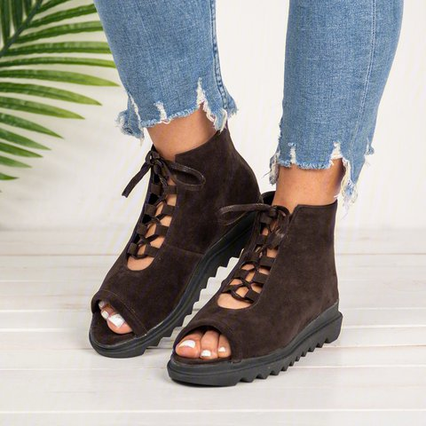 Women  Flocking Sandals Casual  Lace Up Zipper Shoes