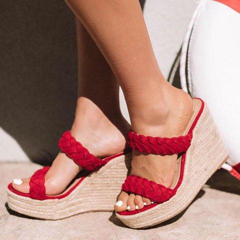 Women Braided Espadrilles Wedges Plus Size Slip-On Peep Toe Sandals