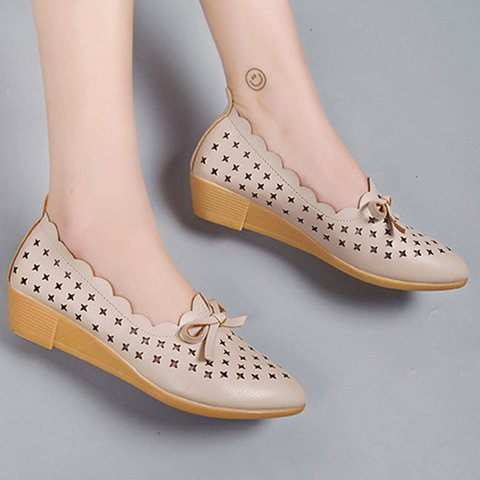 Wedge Heel Pu Hollow-Out  Bowknot Shoes