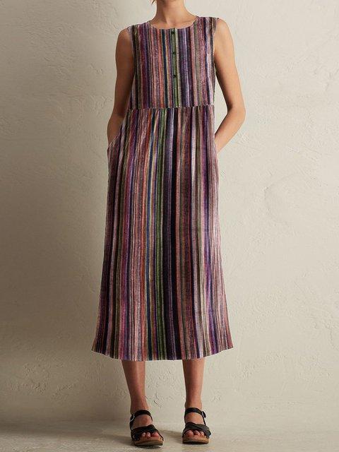 Crew Neck Women Dresses Daily Cotton Dresses