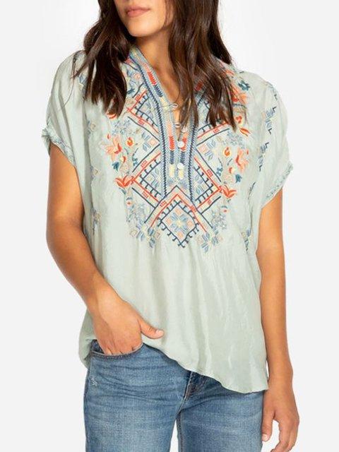 Cotton-Blend Floral Short Sleeve Blouse