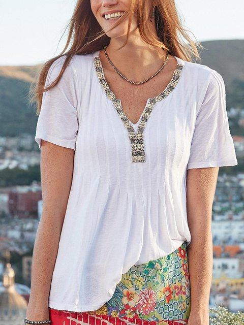Women  V-neck Short-sleeved Solid Color Casual Top