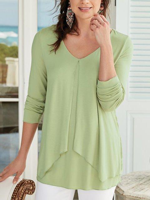 Women  V-neck Half  Sleeve Solid  Loose Casual Top