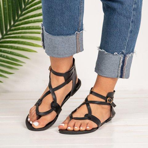 Women Large Size Adjustable Buckle Flat PU Flip Flop Sandals