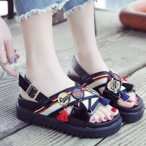 33c5b7c4ac72 Justfashionnow Sandals Platform Tassel Open Toe White Casual Sandals