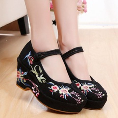 Flower Wedge Heel Buckle Strap Round Toe Womens Shoes