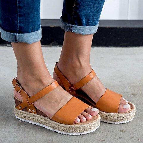 c1b0a578731 Justfashionnow Wedge Espadrille Sandals Women Adjustable Buckle Plus Size  Shoes