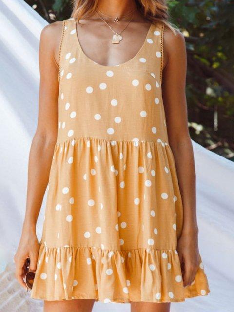 Women Polka Dots Mini Dresses Crew Neck  A-Line Daily Paneled Dresses