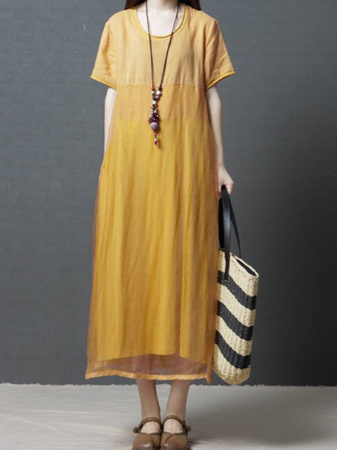 Women Summer Midi Dresses Crew Neck Shift Daily Casual Paneled Dresses
