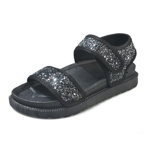 Sequins Design Magic Tape Flat Sandals