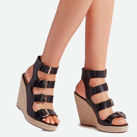 45a8fb26e6c42 Justfashionnow Women Peep Toe Espadrilles Wedges Plus Size Adjustable  Buckle Sandals