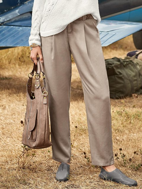 Solid Cotton-Blend Buttoned Pants