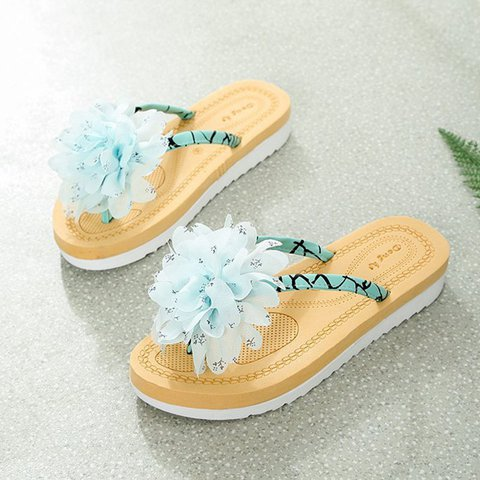 Womens Flip Flops Flat Heel Flower Summer Slippers