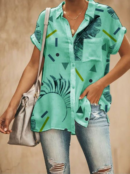 V Neck Floral Short Sleeve Cotton-Blend Shirts & Tops