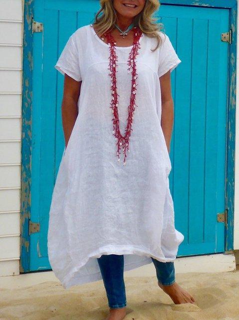 Plus Size Solid Round Neck Short Sleeve Dresses