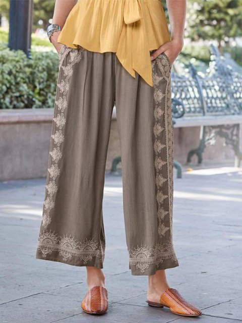 Casual Plus Size Floral Pants With Pockets