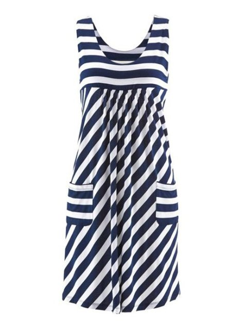 Stripes Plus Size Sleeveless Women Summer Dresses With Pockets