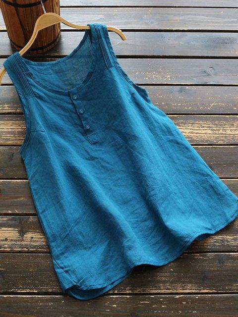 Women Summer Plain Linen Tanks Casual Buttoned Sleeveless Tops