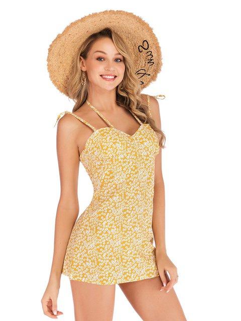 Floral-Print Spaghetti Sheath Holiday Dresses