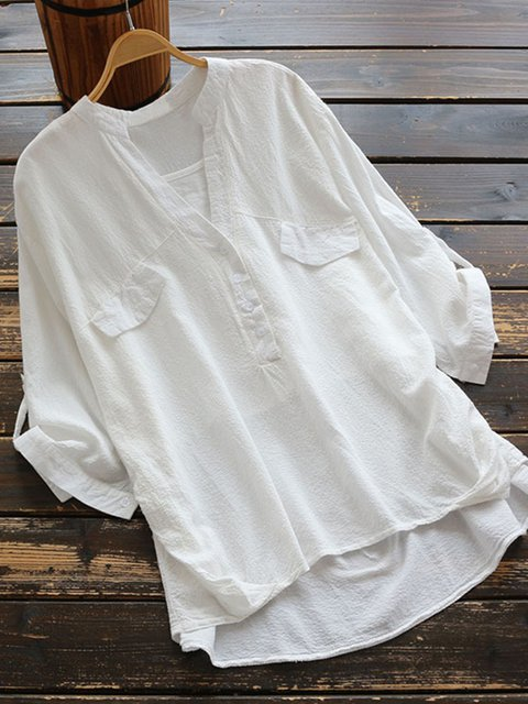 Women Summer Blouses White Casual Pockets Blouses