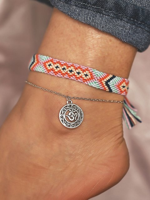 2 Pieces Braided Anklets Bohemian Openwork Yoga Chains