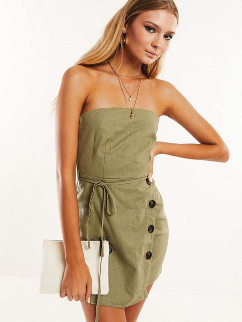 Plain Paneled Folds,Buttoned Off Shoulder Army Green Daily Dresses