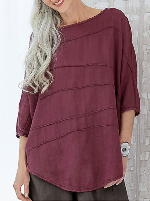 Round Neck Half Sleeve Cotton-Blend Casual Shirts & Tops