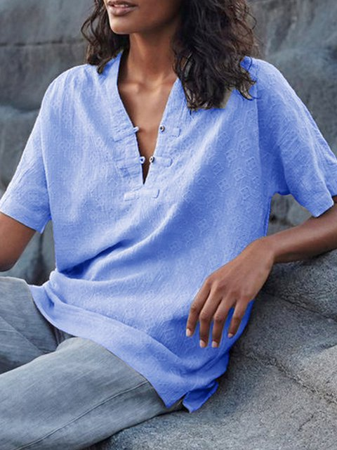 Buttoned Short Sleeve Buttoned V Neck Casual Blouses