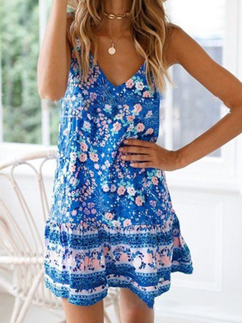 Summer Floral Dress V-Neck Spaghetti Dresses