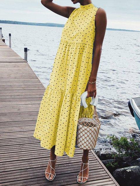 Women Polka Dots Sleeveless Shift Daily Holiday Pleated Polka Dots Dresses