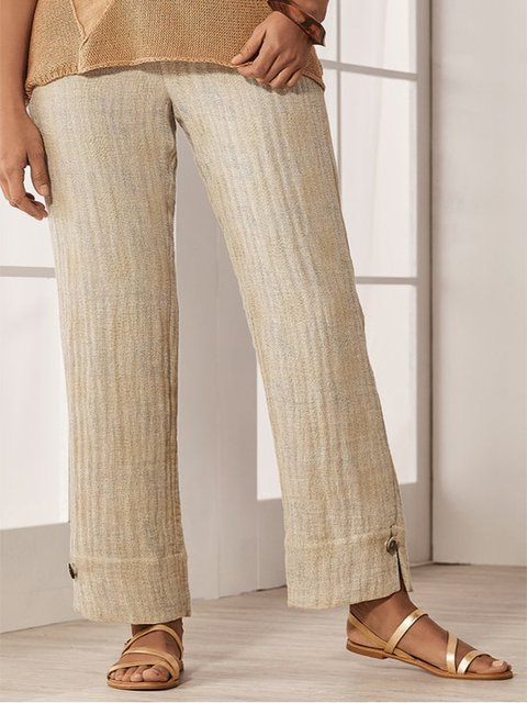 Casual Plus Size Solid Pants
