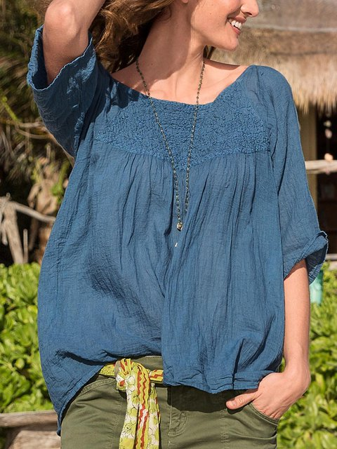 Women  Half Sleeve Solid Color Loose Casual Top
