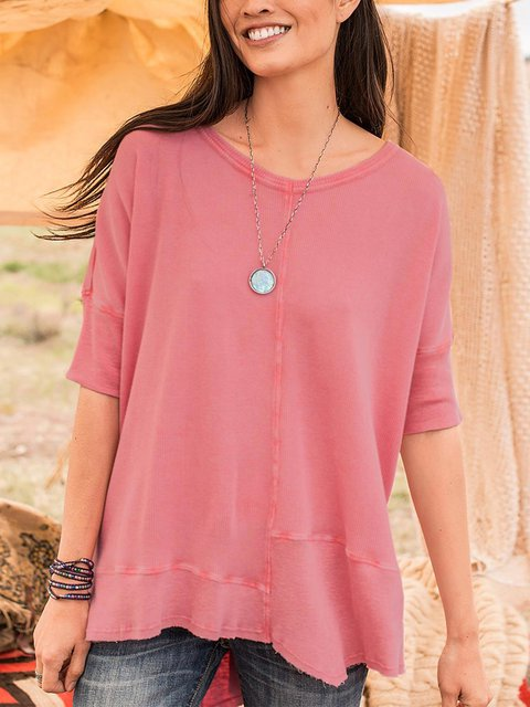 Women  Round Neck Half Sleeve Solid  Casual Top