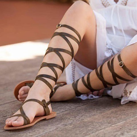 Gladiator Sandals Pu Summer Sandals Open Toe Womens Shoes