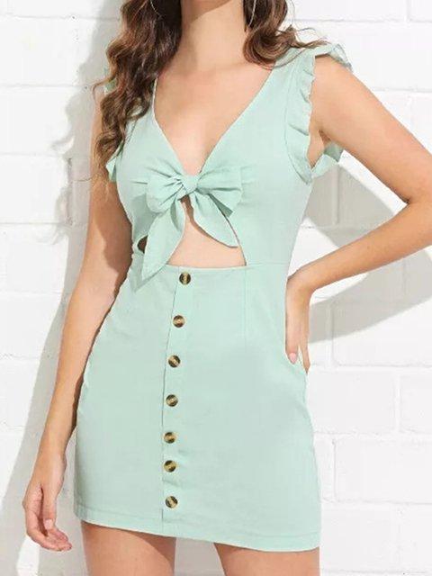 Bow Cutout Buttoned V Neck Sheath Holiday Sexy Dresses