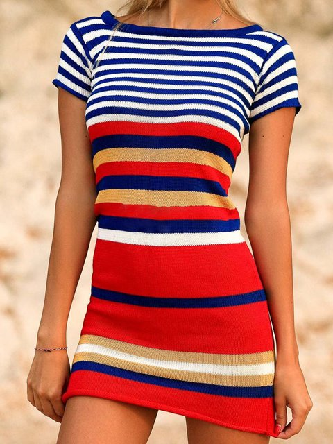Summer Dress Striped Short Sleeves Bodycon Dresses