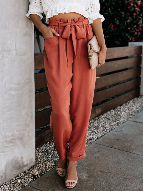 Women Orange Pants Pockets High-rise Casual Pants with Belt