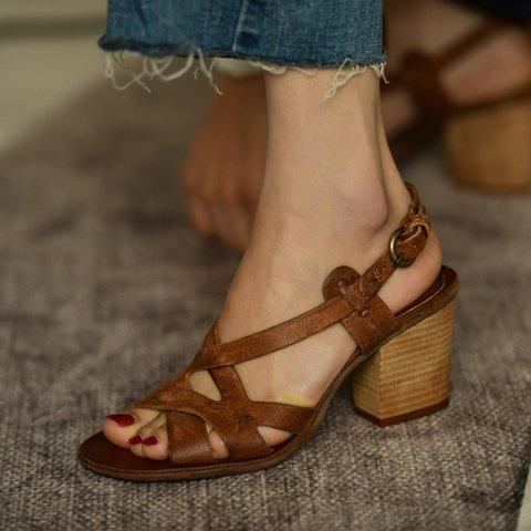 0a97b686a47 Justfashionnow Heels Brown Peep Toe Vintage Heels